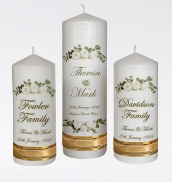Wedding Personalised Unity Candle Set of 3 Double Classic