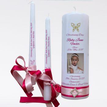 Christening Personalised Candle Set Elegance