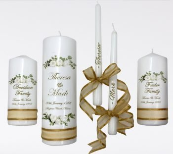Wedding Personalised Unity Candle Set of 5 Classic