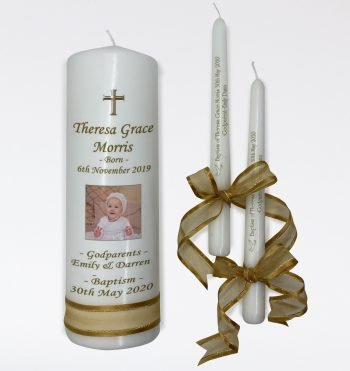Baptism Personalised Candle Set Classic