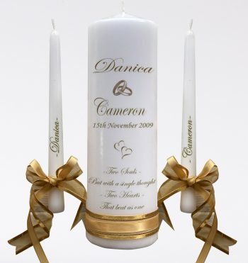 Wedding Personalised Intimate Unity Candle Set Double Classic
