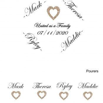 Sand Unity Ceremony Personalised Heart Set 5 piece Set