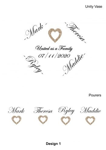 Sand Unity Ceremony Personalised Heart Set 5 piece Set