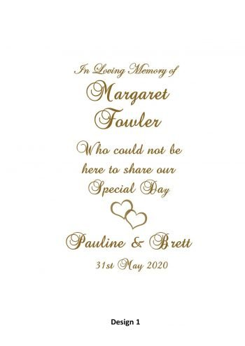 Wedding Personalised Memorial Candle Classic