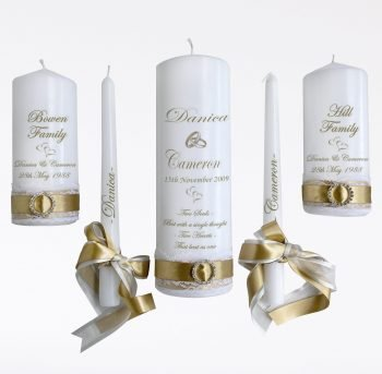 Wedding Personalised Unity Candle Set of 5 Romance