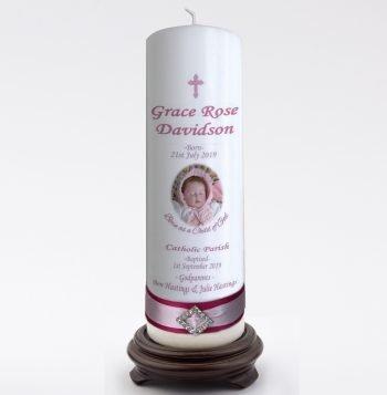 Baptism Personalised Candle Elegance