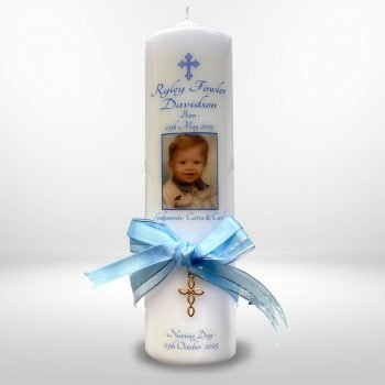 Baptism Personalised Candle Ornate