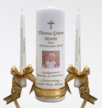 Christening Personalised Candle Set Double Classic