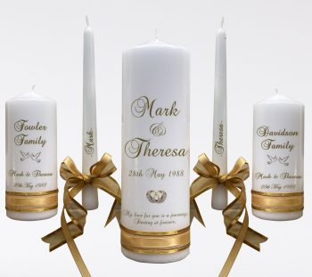 Wedding Personalised Unity Candle Set of 5 Double Classic