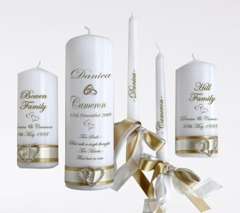 Wedding Personalised Unity Candle Set of 5 Elegance