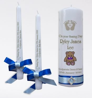 Naming Day Personalised Candle Set Elegance