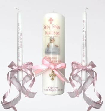 Christening Personalised Candle Set Ornate