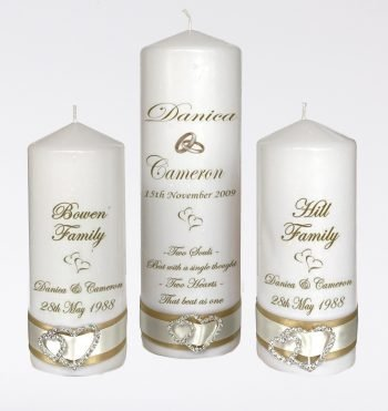 Wedding Personalised Unity Candle Set of 3 Elegance