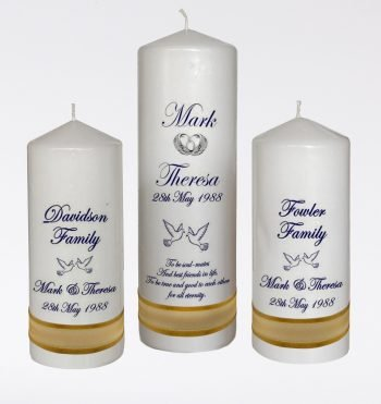 Wedding Personalised Unity Candle Set of 3 Classic
