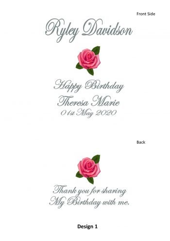 Personalised Birthday Bonbonieres Double Sided Candle Classic