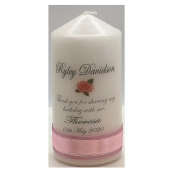 Personalised Birthday Bonbonieres Candle Double Classic