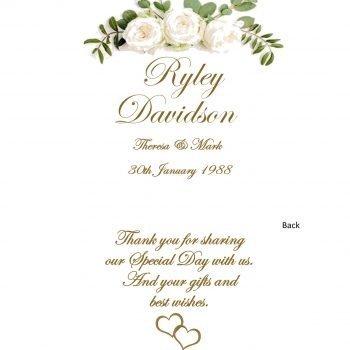 Personalised Wedding Bonbonieres Double Sided Candle Romance