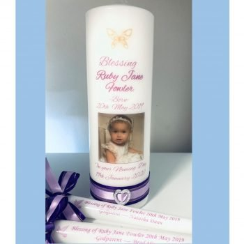 Baptism Personalised Candle Set Elegance